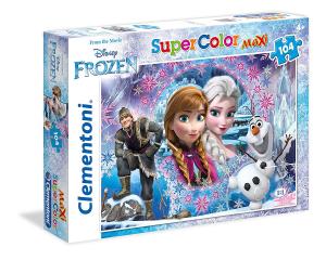 Puzzle Clementoni - Frozen Supercolor , Multicolore, 104 Pezzi