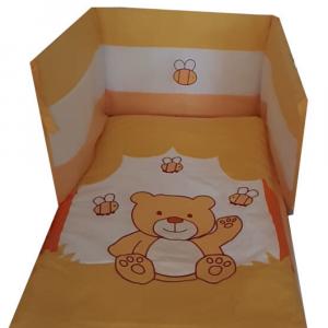 Coordinato lettino Linea ricamato orso arancio