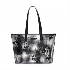 Shopping nero/fantasia rose stilizzate PashBag