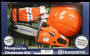 Motosega giocattolo Husqvarna con kit di sicurezza
