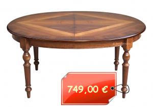 Tavolo ovale intarsiato cm 160 – 210 con gambe tornite