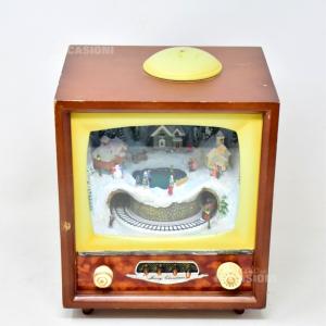 Tv Natalizia Vintage Con Luce E Movimento