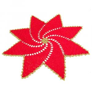 CENTRINO a forma di stella rosso e oro per Natale all'uncinetto