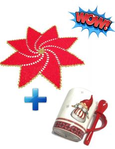 CENTRINO rosso a forma di stella + TAZZA con gnomo per Natale