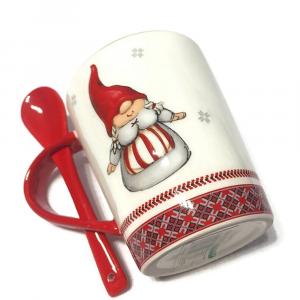 TAZZA gnometta con cucchiaino in ceramica