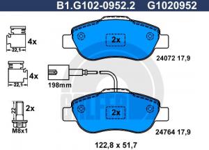 Kit pastiglie freni anteriori Fiat 500, panda 169, GALFER, 77368553,77367923,