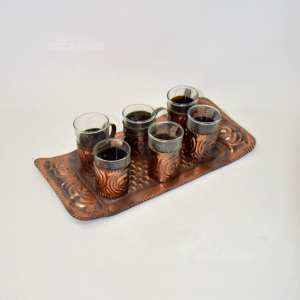 Servizio Piatto + 6 Bicchieri In Rame
