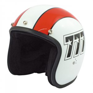 BANDIT 777 JET HELMET, WHITE/ORANGE, XS