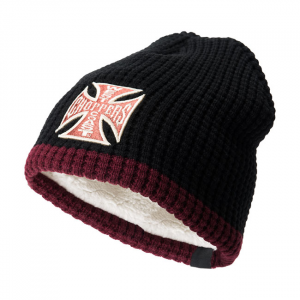 WCC Knitted cross beanie black bordeaux