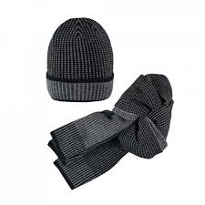 Set cappello + sciarpa grigio/nero Mek