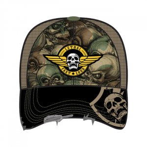 LETHAL THREAT, MEN'S TRUCKER HAT ARMY SKULL CAMO; One size fits most