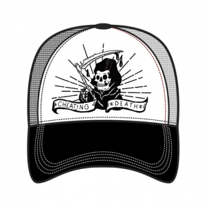 LETHAL THREAT, MEN'S TRUCKER HAT CHEATING DEATH; One size fits most