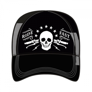 LETHAL THREAT, MEN'S TRUCKER HAT RIDE FAST; One size fits most