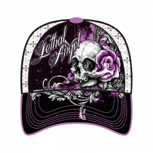 LETHAL THREAT, FLORAL SKULL ROSE CAP; One size fits most