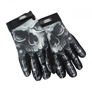 LETHAL THREAT Biomechanical Skull gloves black; Male size XL