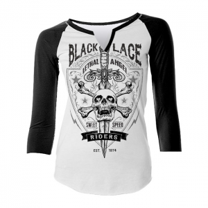 LETHAL THREAT BLACK LACE RIDERS T-SHIRT; Female; US SIZE L