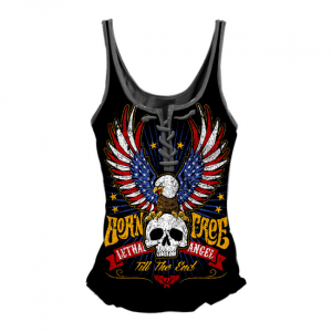 LETHAL THREAT BORN FREE EAGLE TANK TOP BLACK; Female; US SIZE L