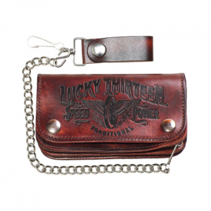 Lucky 13 Traditional leather embossed chain wallet