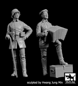 German Soldier with accordion + Officer