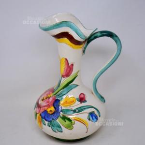 Brocca In Ceramica Deruta Dipinto Fiori 30 Cm