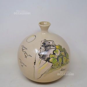 Vaso In Ceramica Dipinto Castello