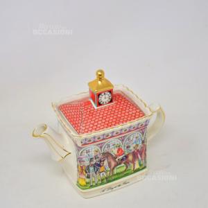 Teiera Vintage In Ceramica Inglese SANDLER Raffigurazione Corsa Di Cavalli