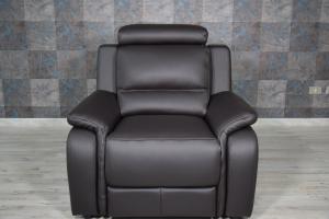 Poltrona relax in pelle colore testa di moro con recliner elettrico e poggiatesta regolabile