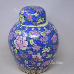 Vaso In Stile Orintale In Ceramica Azzurra Con Fiori