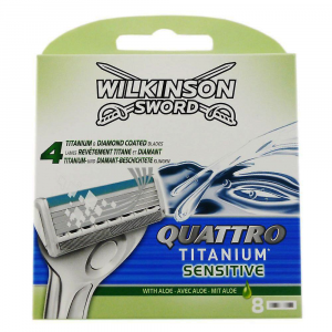 WILKINSON SWORD Quattro Titanium Sensitive Ricarica x8