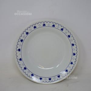 Piatti 6 Piani + 6 Fondine In Ceramica Con Bordo Blu Cuori