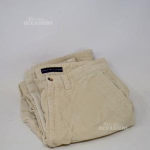 Pantaloni Uomo Hilfiger Tg 31-32 Velluto A Coste Beige