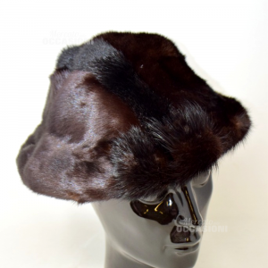 Cappello In Vera Pelliccia Visone Marrone Scuro