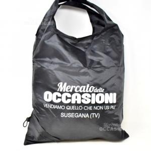 Borsa Shopper Tascabile Nera Con LOGO MERCATO DELLE