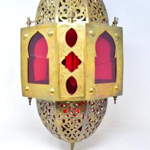 Lampadario Tipo Lanterna Ottone Etnico
