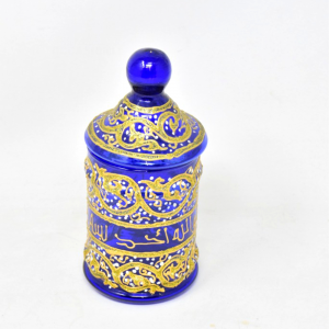 Vaso Vetro Blu/dorato Con