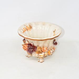 Vaso In Ceramica Capodimonte Fiori Marroni