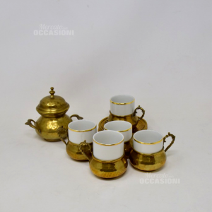 Servizio Caffè In Ottone/ceramica Da 6 persone+ Zuccheriera