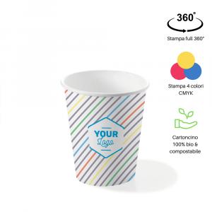 Bicchieri personalizzati biodegradabili cartoncino 200ml