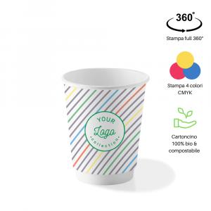 Bicchieri personalizzati biodegradabili cartoncino doppio strato 240ml