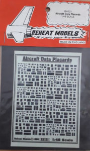 AIRCRAFT DATA PLACARDS