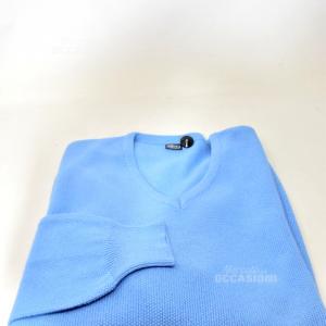 Maglione Uomo Versace Azzurro Tg 5-m Originale In Cotone