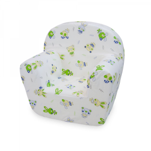 Poltroncina in puro cotone sfoderabile animaletti verde