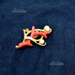 Spilla Rossa E Oro Con