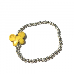 Bracciale Butterfly con charm giallo e palline argentate