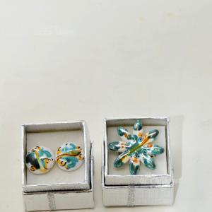 Anello E Orecchini Dipinti A mano In Ceramica