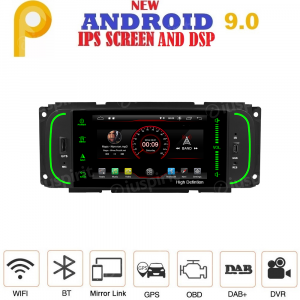 ANDROID 9.0 autoradio navigatore per Jeep Grand Cherokee, Jeep Wrangler, Chrysler 300 M, Chrysler PT Cruiser GPS DVD USB SD WI-FI Bluetooth Mirrorlink