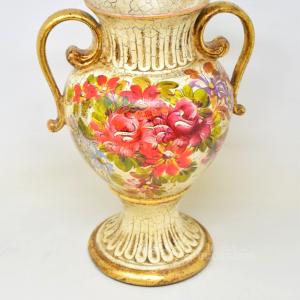 Vaso In Ceramica 35 Cm Anticato Con Decoro Fiori