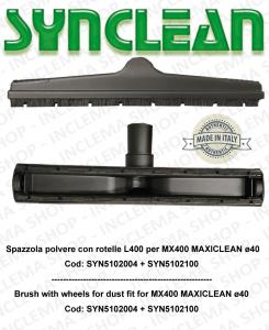 Spazzola polvere con rotelle adatta per MX400 Maxiclean kit ø 40  Cod: SYN5102004 + SYN5102100