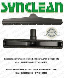 Spazzola polvere con rotelle adatta per AS400 GHIBLI kit ø 40  Cod: SYN5102004 + SYN5102100