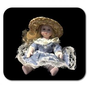 BAMBOLINA di porcellana vestito azzurro e cappello di paglia